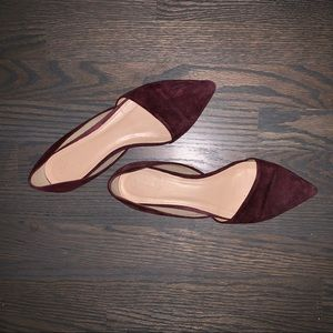 J. Crew D'Orsay Flats - Deep Red Suede